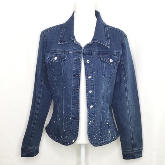 Christine Alexander Jackets & Blazers - Christine Alexander Blue Jean jacket with crystals